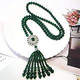 Driverder Exquisite und schöne Halskette Natürliche Achat Zirkon Intarsien Sun Flower Edelstein Halskette-Grün