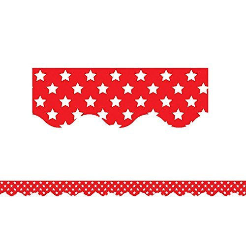 White Border Trim (Teacher Created Resources Red with White Stars Scalloped Border Trim (5809) by Teacher Created Resources)