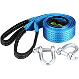 WPFC Car Trailer Tow Rope, Road Recovery Towing Cable with Reflective Strip Hooks 8 Tons 5 Meters