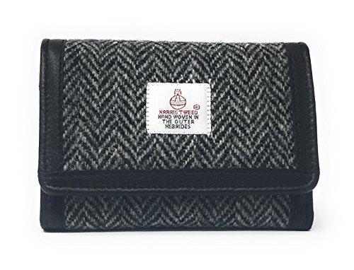 Damen Traditionelle Harris Tweed Trifold Geldbörse Auswahl an Farben Geschenk verpackt (Schwarz)