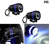 PR U3 Headlight Fog Lamp with lens Cree Led with Blue Angel Eye Ring Light (Black, 2Pc) High Beam,Low Beam,Flashing Modes LED Motorycle Fog Light Bike Projector Auxillary Spot Beam Light with and For Mahindra Centuro Disc Brake