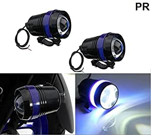 PR U3 Headlight Fog Lamp with lens Cree Led with Blue Angel Eye Ring Light (Black, 2Pc) High Beam,Low Beam,Flashing Modes LED Motorycle Fog Light Bike Projector Auxillary Spot Beam Light with and For TVS Star City Plus Gold Edition