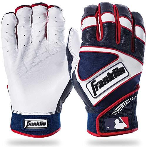 Franklin Sports MLB Powerstrap Baseball-Handschuhe, Pearl/Navy/White, Erwachsene Large