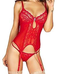 Guêpière Rouge + String CR-3641 - Rouge - Taille XL