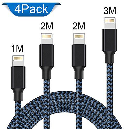 Lightning Kabel, WZS® 4Pack 1M 2M 2M 3M Lang Nylon iPhone Ladekabel iPhone Kabel USB Datenkabel für iPhone X / 8 / 8 Plus / 7 / 7 Plus / 6S / 6S Plus / 6 / 6 Plus / SE / 5S / 5C / 5 , iPad Pro / Air / Air 2 / Mini 2 3 4 , iPod Touch 5/6, iPod Nano 7-Schwarz Blau (Ipod-blau)