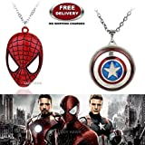 (2 Pcs AVENGER SET) - SPIDERMAN MASK & CAPTAIN AMERICA REVOLVING IMPORTED PENDANTS WITH CHAIN. LADY HAWK DESIGNER SERIES 2018. ❤ ALSO CHECK FOR LATEST ARRIVALS - NOW ON SALE IN AMAZON - RINGS - KEYCHAINS - NECKLACE - BRACELET & T SHIRT - CA