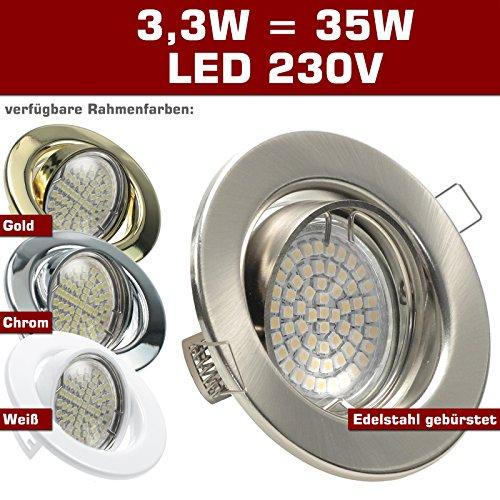 SONDERAKTION Decken Einbaustrahler DECORA; 230V GU10; 1er Set inkl. SMD LED 3,3W = 35W (Warm-Weiß); 260 Lumen; schwenkbar; EDELSTAHL OPTIK gebürstet; Spot Einbauleuchten; Leuchtmittel austauschbar