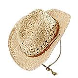 Fletion Unisex Cappello da cowboy protezione solare cappello da sole estate  cappello cappello di paglia Mesh Jazz Cappuccio 5505bafbfab6
