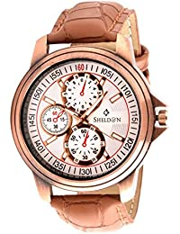 Sheldon Brown Leather Analog Watch For Men (SH-10201)