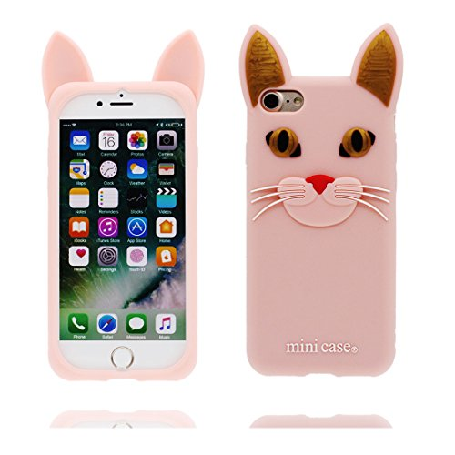 Copertura iPhone 7, Bumper TPU Gel protettivo in gomma morbida Case Cover Copertura per iPhone 7 4.7 , Cartoon rosa gatto rosa