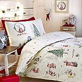 Bedlam Weihnachts Billy Bunny Post Box und Weihnachtsbaum Rückseite Bettbezug Set, Mehrfarbig, Doppel