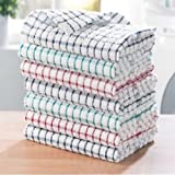 100% Cotton Tea Towels Set Kitchen Dish Cloths Cleaning Drying by QualtyWise (Pack of 6)