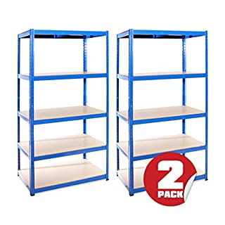 Garage Shelving Units: 180cm x 90cm x 60cm | Heavy Duty Racking Shelves for Storage - 2 Bay Extra Deep, Blue 5 Tier (175KG Per Shelf), 875KG Capacity | For Workshop, Shed, Office | 5 Year Warranty