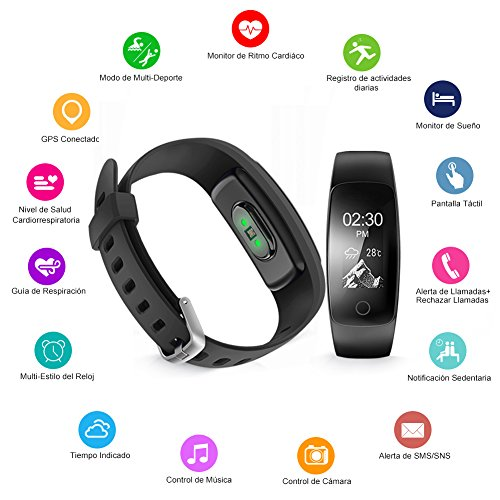 Pulsera Actividad con GPS Naixues Pulsera Inteligente con 14 Modos de Deporte Pulsómetro Monitor de Ritmo Cardíaco Impermeable IP67 Reloj Inteligente para IOS y Android