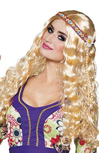 - Blonde Lange Perücke Mit Blume
