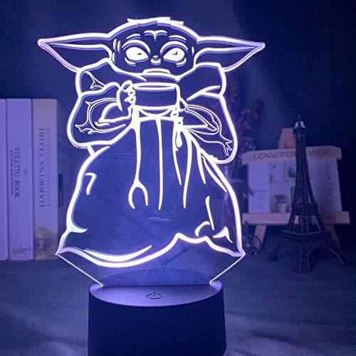 ZYQZYQ 3D Nachtlicht Illusion Lampe Baby Yoda Schüssel Suppe Abbildung Led Nachtlicht Kinder Schlafzimmer Dekoration Licht Nachttisch Led Kind Mini Yoda Meme Geschenk