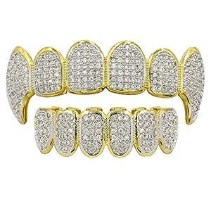 milageto 18K Gold Plattiert Kristall 3A Zirkon Oben Unten BENUTZERDEFINIERTE Grills Mundzahngrill Gesetzt