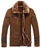 YYZYY Herren Hochwertig Winter Dicke Warme Vintage Luxuriös Wildleder Leder Pelz Mäntel Jacke Lambswool Futter Biker Bomber (EU/DE Large, Braun)