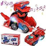 FOHYLOY Transforming Dinos Car, Jouet de Dinosaure Qui Bascule dans Une Voiture de Course, Jouet éducatif pour Enfants garçons et Filles de 3 à 6 Ans (Rouge)