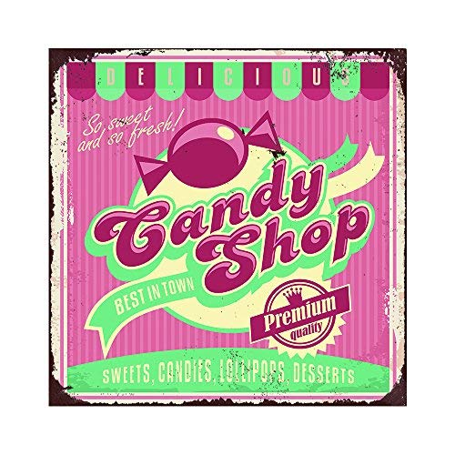 wenyige8216 Metal Signs Candy Shop Best IN Town Decorative Aluminum Metal Signs for Snack Shop Decor Gift 12