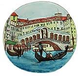 Ponte di rialto a venezia-Piatto di ceramica decorata a mano diametro cm 32,6x33,5cm-Made In Italy ,toscana, Lucca.Certificato.Pezzo unico disegno e realizzazione del Maestro Davide Pacini