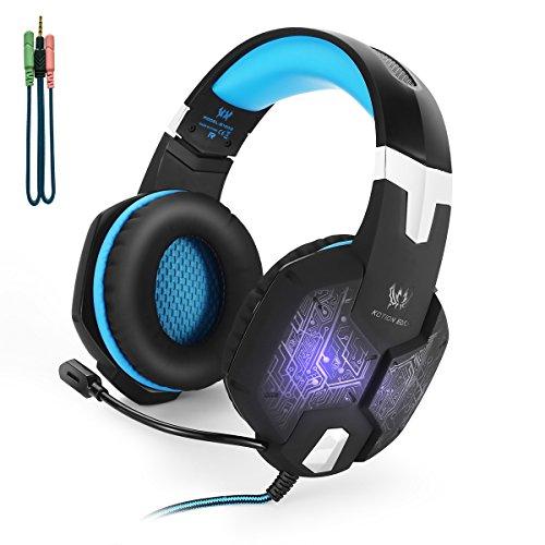 KOTION EACH G1000 Professional PC Stereo Gaming Headset Einklappbares Headband mit Mikrofon Geräuschisolierung Over Ear headset Colorful Atmen LED Lichtt(shchwarz+Blau)
