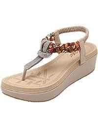 e9cb4df615a Zicac Women s Clip Toe Sandals Summer Bohemia Rhinestone Bead Folk Dunlop  Sandals Boho Beach Flip Flops