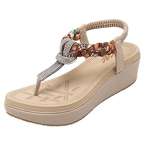 Zicac Women's Round Peep Clip Toe Platform Wedge Heel Rhinestone Elastic T-Strap Bohemia Roman Sandals Flip Flops Shoes Thongs