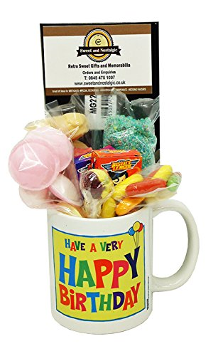 Happy Birthday Mug with a Selection of 1970's Retro Sweets