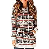 TOPKEAL Damen Sweatjacke Langarm Farbe Streifen Oberteile Sweatshirt Frauen Kapuzenpullover mit Tasche Hoodie Pullover Tops Pulli (rot, S)