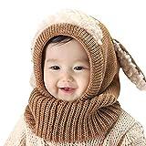 AUVSTAR Baby Mädchen Jungen Kleinkind Winter Hut Schal Set Cutest Earflap Kapuze Warm Knit Hut Schals mit Ohren Schnee Halswärmer Schädel Kappe Kinder 6-36 Monate