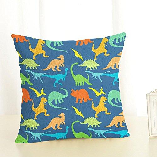 Almohada Multicolor dinosaurios Impreso Sofá Decoración Cojín Caso agarre Bar Funda de almohada decorativa Cojín azul