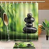GoHEBE Spa, Bambus, 71x cm Schimmelresistenter Duschvorhang aus Polyester, mit 15,7x 23.6in Fußmatte, rutschfest, Badetuch, Flanell