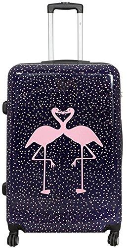 Polycarbonat Hartschalen Koffer Trolley Reisekoffer Reisetrolley Handgepäck Boardcase Motiv PM (Kissing Flamingos, Größe XL)