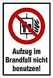 Aufkleber - Aufzug im Brandfall nicht benutzen - Fahrstuhl Brand Feuer - entspr. DIN ISO 7010 / ASR A1.3 – 30x20cm – S00355-041-A +++ in 20 Varianten erhältlich