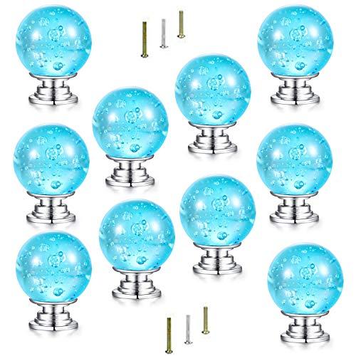 HOVEXUN 10 Stück Aqua Blue Bubbles Glas Kristall Knauf und Ziehknäufe und Griffe für Küche, Möbel, Tür, Schublade, Schrank, Schrank, Badezimmer, (Küche-glas-tür-schrank)