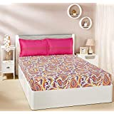 Amazon Brand - Solimo Paisley Preen 144 TC 100% Cotton Double Bedsheet with 2 Pillow Covers, Pink and Yellow