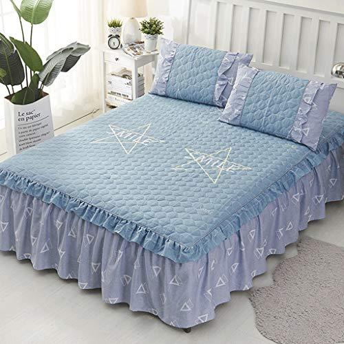 Staub gekräuselten Bett Röcke voller Größe Wrap Around Bett Rüschen mit Plattform Deep Drop Cotton Bettwäsche (Color : F, Size : 200x220×45cm) Voller Rock Wrap