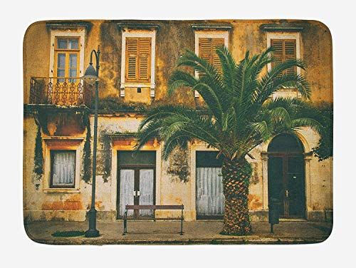 ziHeadwear Tree Bath Mat, Old-Fashioned Mediterranean Colonial House Photo with Vintage Featured Shaded Colors Style, Plush Bathroom Decor Mat with Non Slip Backing, 29.5 W X 17.5 W Inches, Multi (Single Style Colonial)