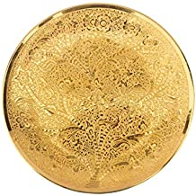 DEVKIKALA MANDIR CORPORATION Brass Decorative Wall Plate Round Handicraft with 24 Carat Gold Plating (20 cm x 0.3 cm x 1.5 cm,DKMCM11)