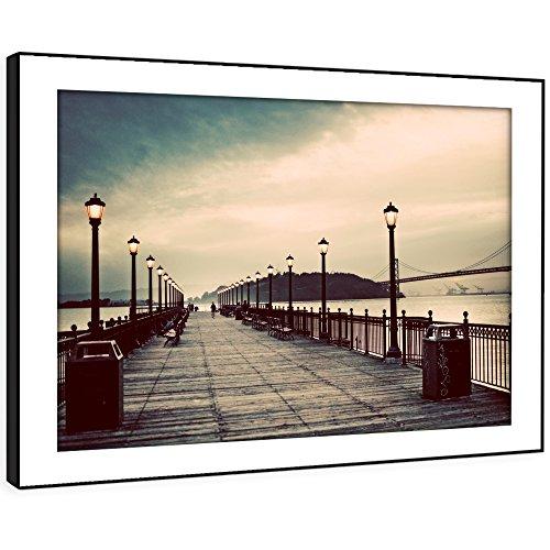BFC256D gerahmtes Bild drucken Wandkunst - Brighton Pier Gehweg Moderne Malerische Landschaft Wohnzimmer Schlafzimmer Stück Wohnkultur Leicht Hang Guide (72X51cm)