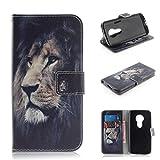 COWX Leder Kreditkarten Brieftasche Handy Schutzhülle für Motorola Moto E5 Play Hülle Tasche Flip Case (TXM04)