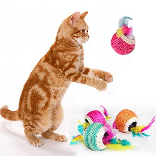 (Cat Teaser Katzenspielzeug, favolook 2Stück PET Kitten Feder Ball Interaktives Spielzeug kauen Knattergräusch Sisal Hanf Seil (zufällige Farbe))