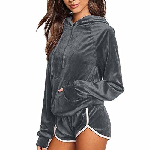 Bekleidung Damen 2pcs Bekleidungssets, ZIYOU Frauen Sport Hoodies Sweatshirt Lange Ärmel + Shorts Hosen Sets Anzug Velvet (Grau, XL) (Top Clima Langarm)