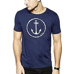 VIENTO Anchor Logo Camiseta Para Hombre (S, Azul)