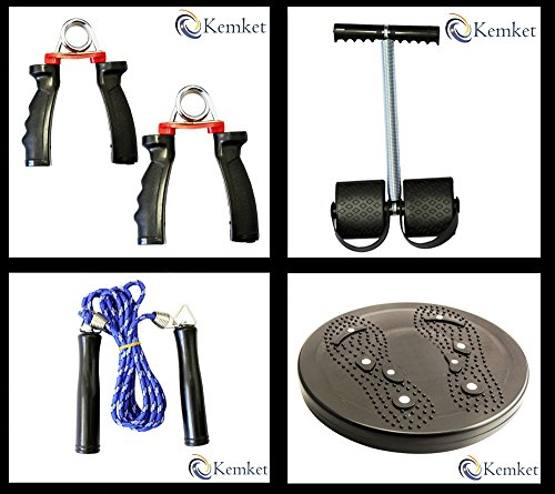 kemket Flexi Rod oder Power Twister für Schulter Arme und Heavy Duty Spring, einstellbare Hand Grip Exerciser, Brust Expander Hand Greifer 5 Springs Muskel ziehen Trainingsgerät Training Multifunktions-, Springseil Fitness Speed Seil für Bewegung Gym Jumping Workout. Taille Twister Disc ohne Seilen Fuß Massagegerät Stepper wriggled Teller, Fuß Pedal Arm Bauch Dehnen Pull Up Spring Expander. Multi Kombination Fitness Training Set 4pcs Set-3 (Multi Sport Stepper)