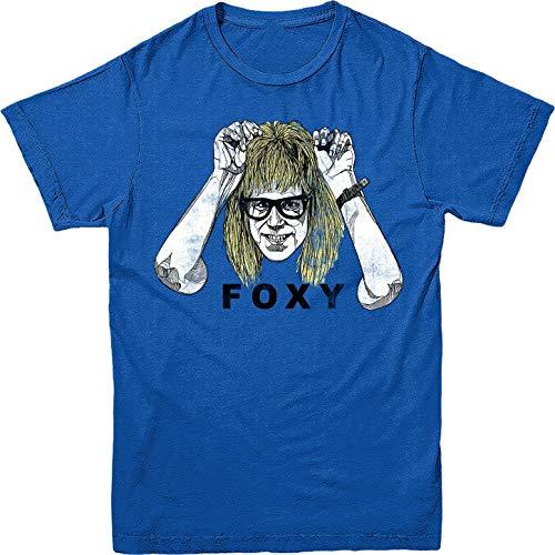Dafony Wayne's World Foxy Männer Baumwolle Casual T-Shirt Kreative Graphic Tee Atmungsaktiv Brief Print Kurzarm für Alltag S-XXXL