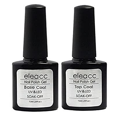 Eleacc 2 x 7.3ml Nail Art UV/LED Lamp Gel Polish Gelpolish Base Top Coat Primer Foundation Long-lasting
