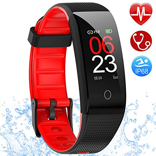 AMOYEE Fitness Armband mit Pulsmesser, Blutdruckmessung Fitness Uhr Wasserdicht IP68 Fitness Tracker mit Pulsuhren Aktivitätstracker Schlafmonitor Schrittzähler Kalorienzähler Uhr Herren Damen Kinder