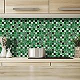 ◕‿◕ Chshe - Adesivi Murali Cucina, 19 Pezzi 3D Tile Wall Sticker Rimovibile Autoadesiva In Pvc Adesivo Da Cucina Bagno Carta Da Parati Decorativa Mobili Film Decorativo Film 10X10Cm